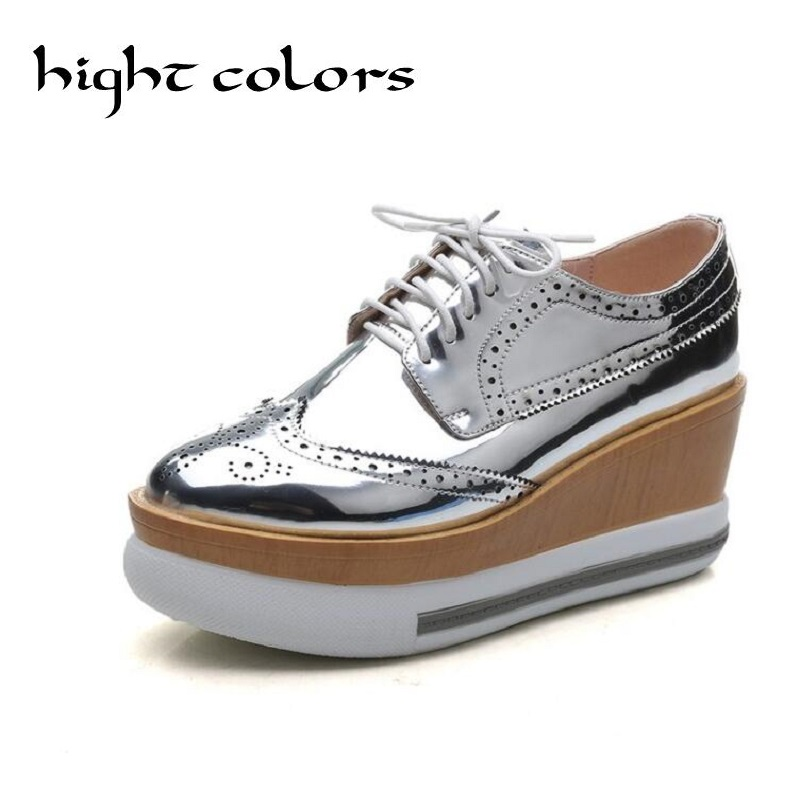 Bright Patent Leather Womens Pumps Oxford Chunky Wedge Heels Lace Up Round Toe Platform Goth Shoes