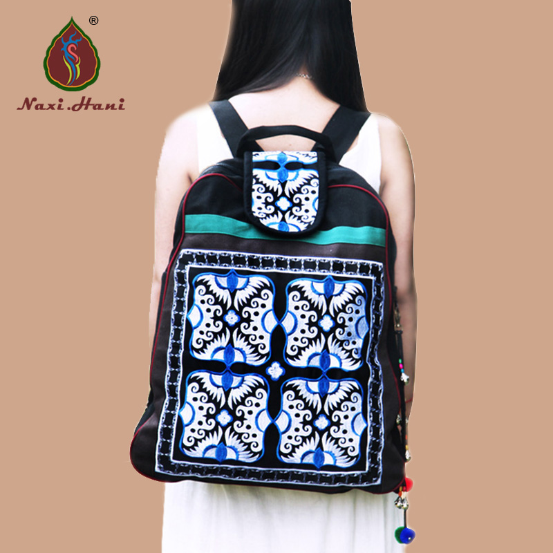 Newest Classic vintage unisex canvas backpack Ethnic embroidery Large casual travel Backpack xiyuan brand newest classic vintage unisex canvas backpack ethnic embroidery large casual travel backpacks