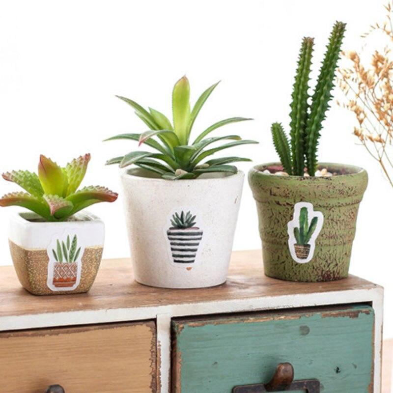 Купить с кэшбэком 45 Pcs/Set Cute Green Plant Cactus Stickers Planner Scrapbooking Diy Decoration Diary Album Stick Label Journal Sticker