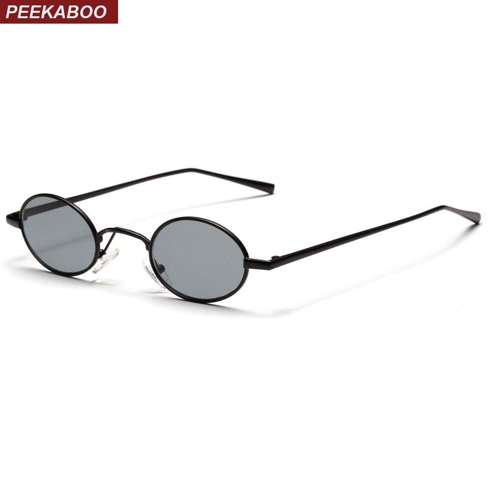 Peekaboo preto pequeno oval óculos de sol das mulheres retro 2018 armação  de metal lente rodada 9871212b68