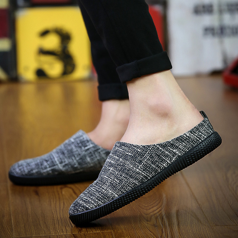 2017 new pedal lazy shoes linen casual shoes men driving the trend of half of the men's shoes large size
