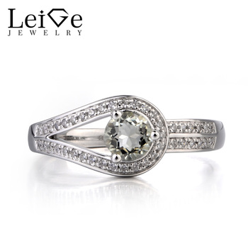 Leige Jewelry Natural Green Amethyst Ring Cocktail Party Ring Round Cut Green Gemstone 925 Sterling Silver Ring Gifts for Women
