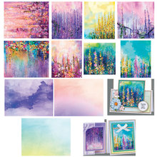 14Sheets/Pack Flower Lavender Scene DIY Scrapbooking Pads Craft Paper Origami Art Background Paper Card Making Paper(China)