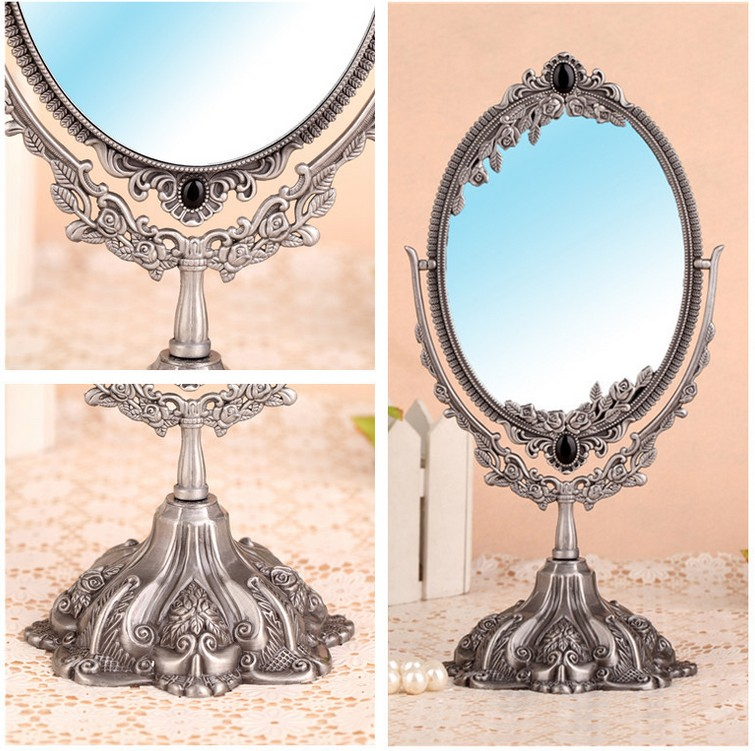 Hot saleAlloy Small makeup mirror cosmetics beauty tools princess double faced desktop makeup compact cosmetic  mirror
