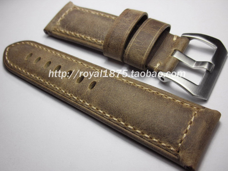 Genuine Leather/cowhide 24mm 26mm Thick Watch Strap For PAM Belt Silver Buckle Clasp Accessories For Panerai 2 5cm bridge buckle belt buckle strap buckle bag accessories 50pcs gold silver