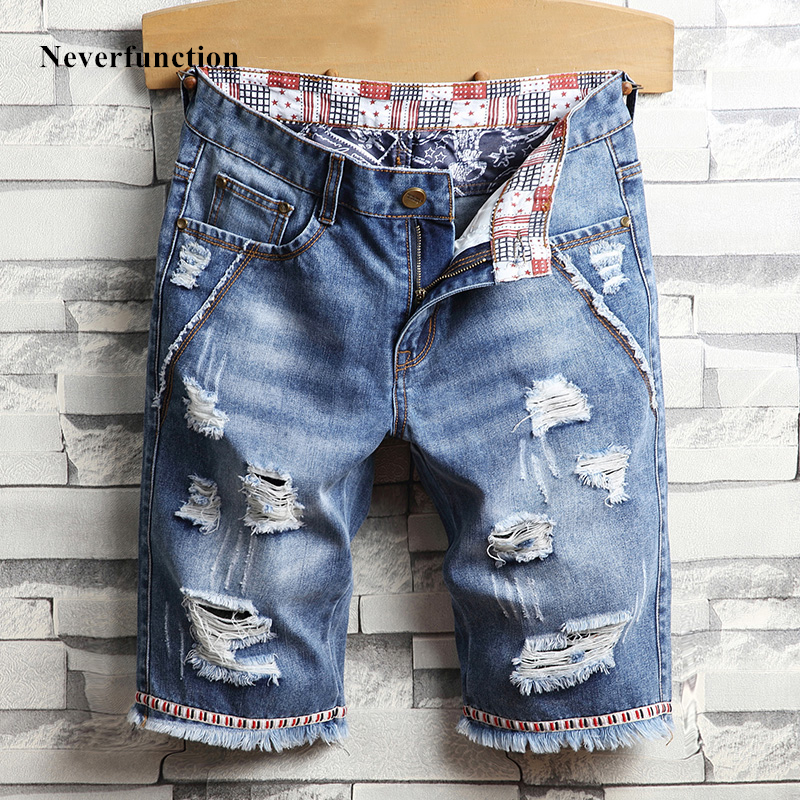 Fashion Men Streetwear Ripped Vintage Bermuda Jeans Short Summer Male Hip Hop Casual Blue Holes Loose Straight Denim Shorts