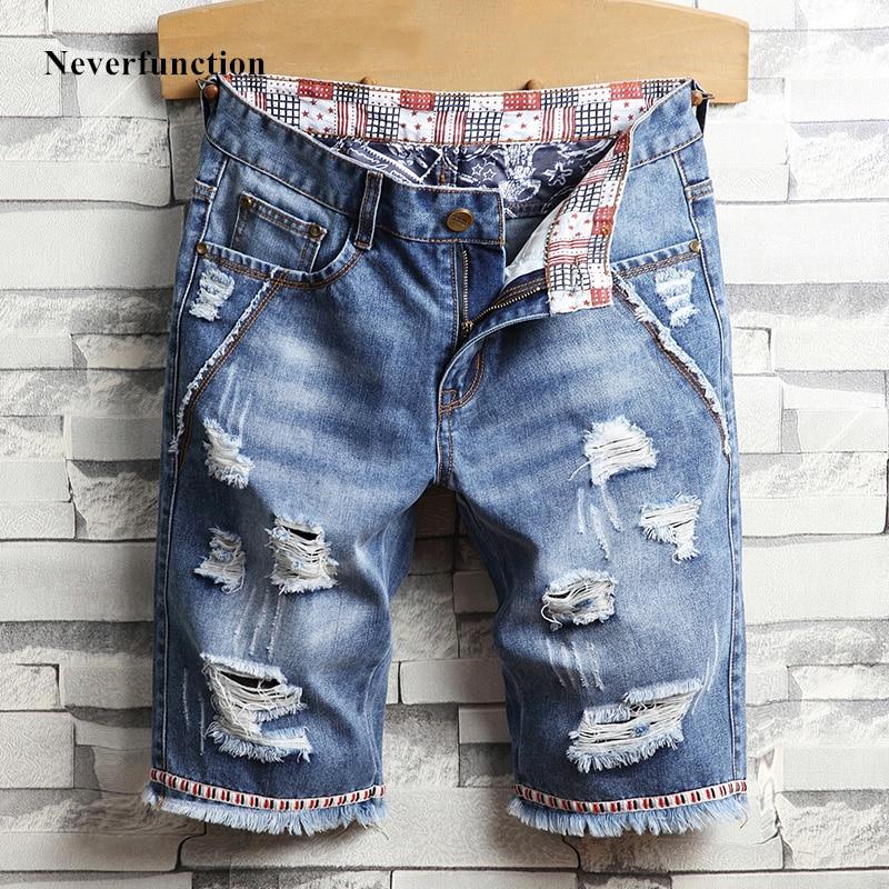 Fashion Men Streetwear Ripped Vintage Bermuda Jeans Short Summer Male Hip Hop Casual Blue Holes Loose Straight Denim Shorts