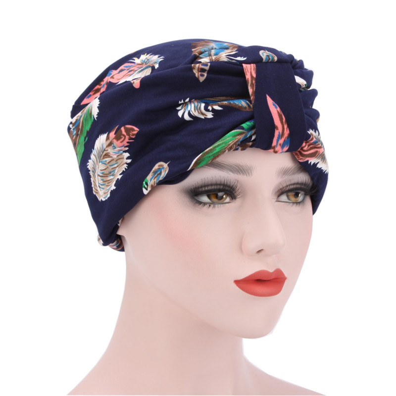 Women Hats Muslim Ruffle Indian Cancer Chemo Hat Floral Printed Head Wrap Cap Scarf Turban   Skullies     Beanie