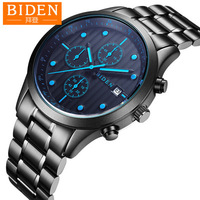 business Biden mens wristwatches stainless steel fashion man clcoks waterproof calendar luminous male watches Citizen movement
