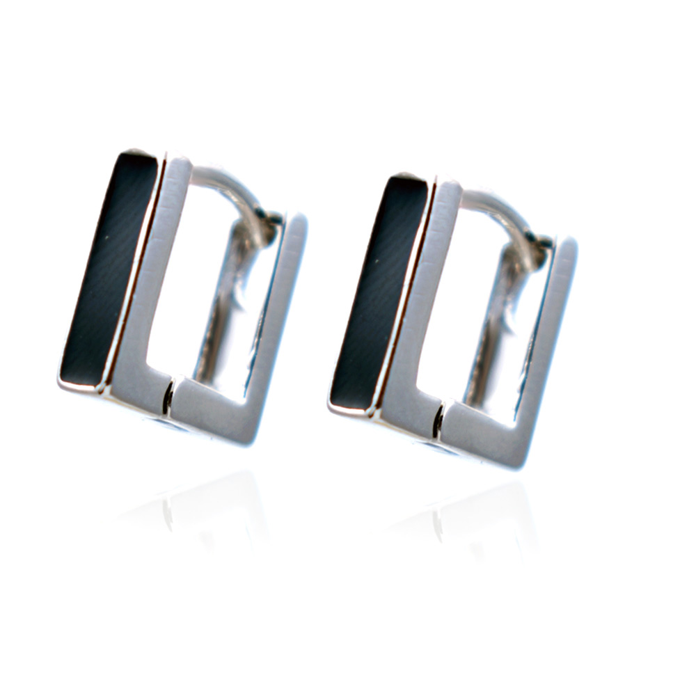Summer Ol Stylish Silver Plated Black Enamel Geometric Small U Shaped Hoop  Earrings Women Lady Cute