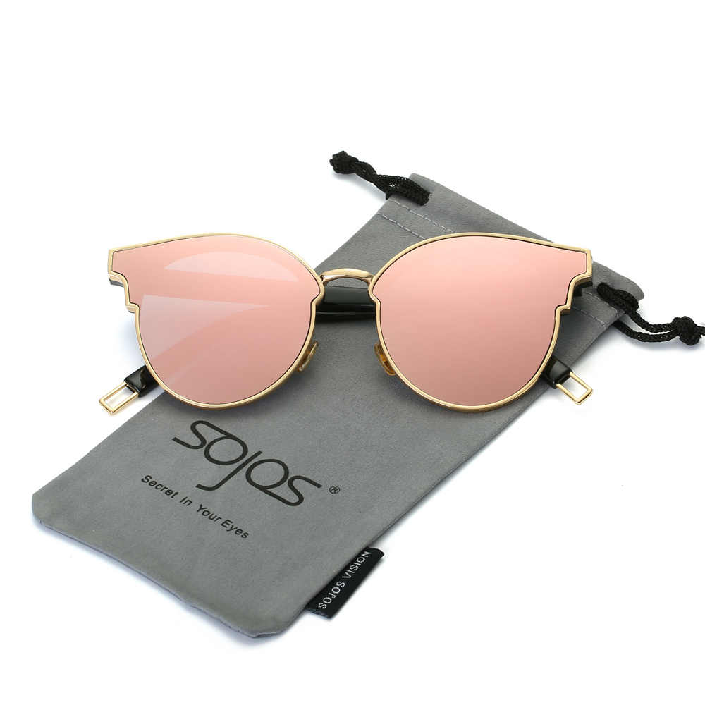 13422fbd096 Sunglasses Woman Fashion CatEye Round Mirrored Flat Lenses Metal Frame  Oversized Party Summer Glasses Oculos De