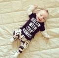 2016 Otoño estilo de ropa infantil ropa de bebé establece boy Algodón de manga Larga 2 unids traje de bebé ropa de recién nacido