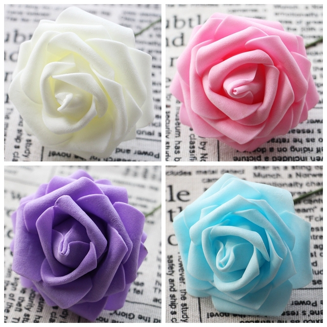 10 Heads 8CM Artificial PE Foam Rose Flowers Bride Bouquet Happy Birthday Wedding Party Candy Box
