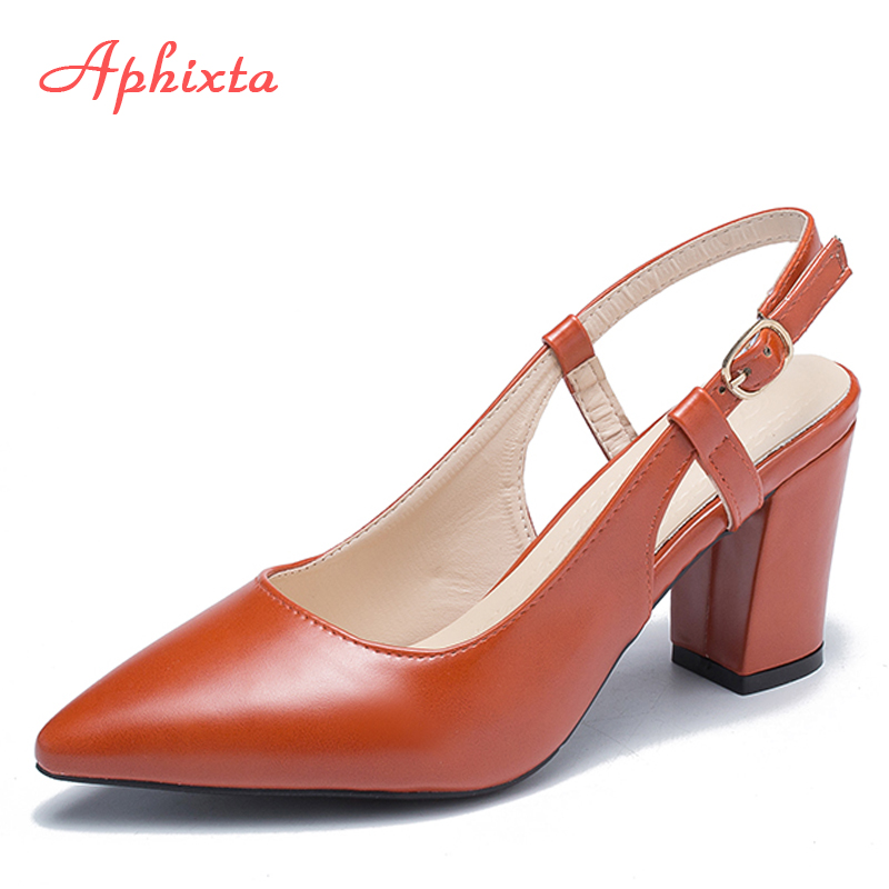 Aphixta Heels Women Pumps Shoes Sexy Sandals Pointed Toe Square Heels Shoes Party Prom Patent Leather Pointy Toe Pumps Women