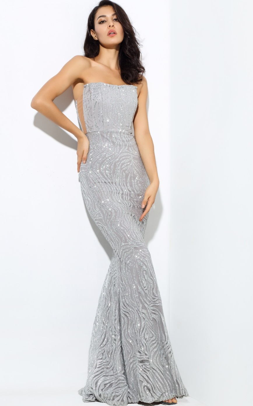 Silver sequin maxi dress red carpet open mid back in dresses from women 39 s clothing on - Silver red carpet dresses ...