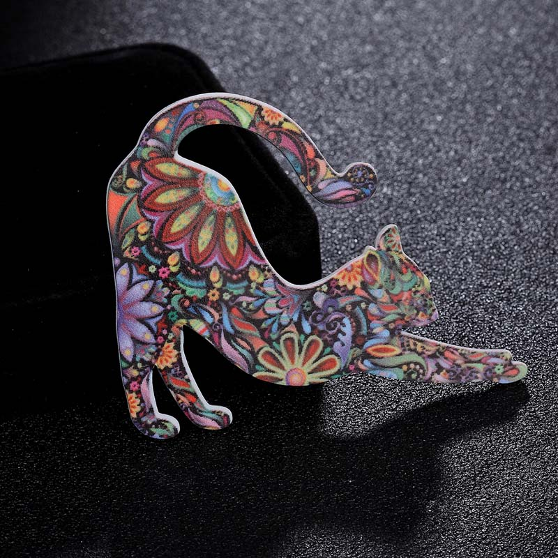 Zlxgirl jewelry Fashion women Acrylic cat brooch Corsage Pins for Children Jewelry Bags Scarf Suit Accessories 3pcs one lot