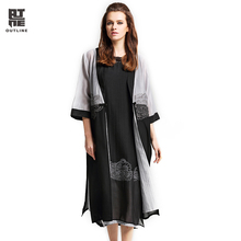Outline Women Summer Cardigans Sunscreen With Vintage Embroidery Long Shirt Silk Patchwork Blouse In Loose V-neck Coats L172Y005