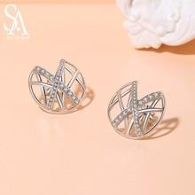 925 New Silver Stud Earrings Woman AAA Zirconia Magic X Romantic Jewelry For Wedding Elegant 2019