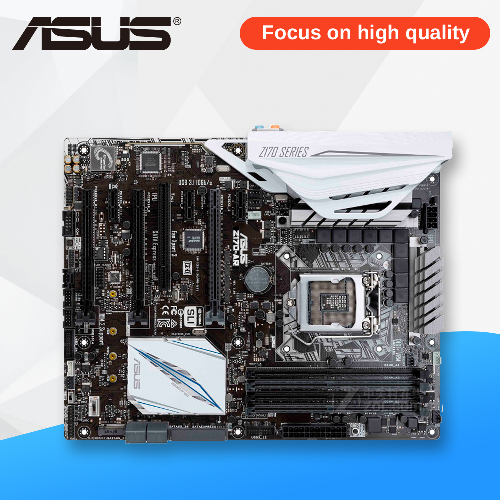 Asus Z170-AR Original New Desktop Motherboard Z170 Socket LGA 1151 i7 i5 i3 DDR4 64G SATA3 USB3.0 ATX On Sale for msi z170a krait gaming 3x original new desktop motherboard for intel z170 socket lga 1151 for i3 i5 i7 ddr4 64g sata3 atx