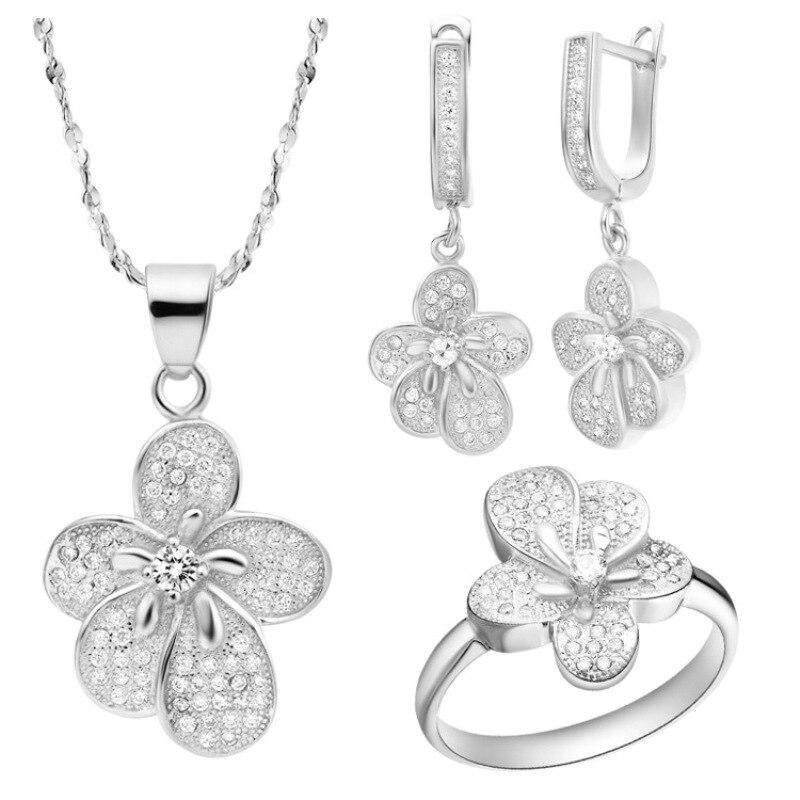 Fashion New Women Silver Set 925 Sterling Best Gift For Women AAA Zircon Flower Ring Earring