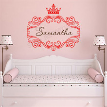 Wall Decoration Crown Princess Decor Vinyl Art Poster Personalized Name Mural Lettering Custom Decal Beauty Ornament LY368