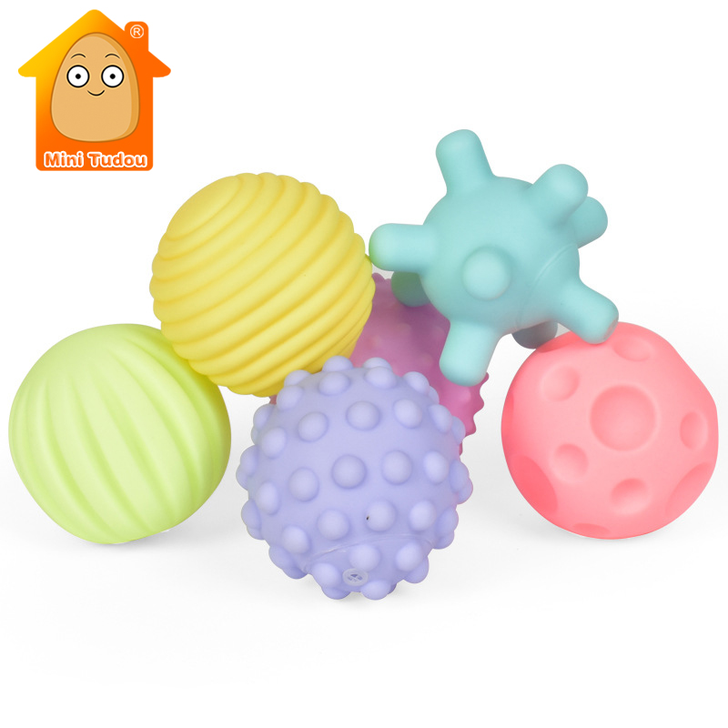 Textured Multi Ball Set Soft Develop Baby Tactile Senses Toy Baby Touch Hand Training Massage Ball Rattle Activity Toys
