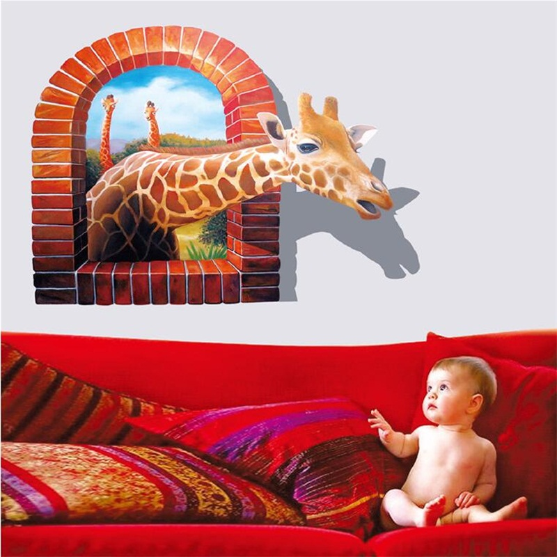 Fashion Nature Lifelike Giraffe 3d Wall Stickers Home Decor Kids Living Room Bedroom Decoration