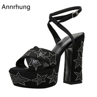 Thick Platform 12cm High Heel Sandals Women Sexy Ankle Strap Open Toe Suede Rivet Five Pointed Star Platform Sandalias De Mujer