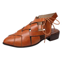 SAGACE Women Fashion Flats Pointed Toe Low-Heeled Lace-Up Single Shoes Roman Sandals Solid Color Comfortable Sandals hot May 22