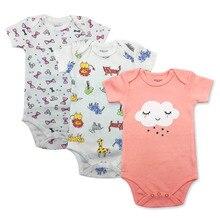 2019 brand new 0-24 meters newborn infant baby girl boy pure short sleeve tight bodysuit summer 3Piece/lot
