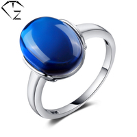 GZ Pure 925 Sterling Silver Wedding Blue Corundum Green Stone Rings For Women 100 S925 Solid