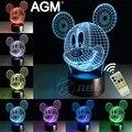 Luces de la noche de la historieta de mickey mouse 3d novelty 3d lámpara de mesa táctil 7 Color RGB 3D LED Lámpara de Noche Para Los Niños Regalo de Cumpleaños regalos