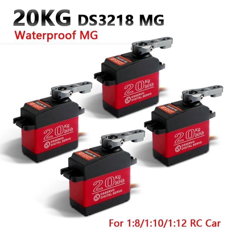 4 Pcs Waterproof Servo DS3218 Update And PRO High Speed Metal Gear Digital Servo Baja Servo 20KG/.09S For 1/8 1/10 Scale RC Cars