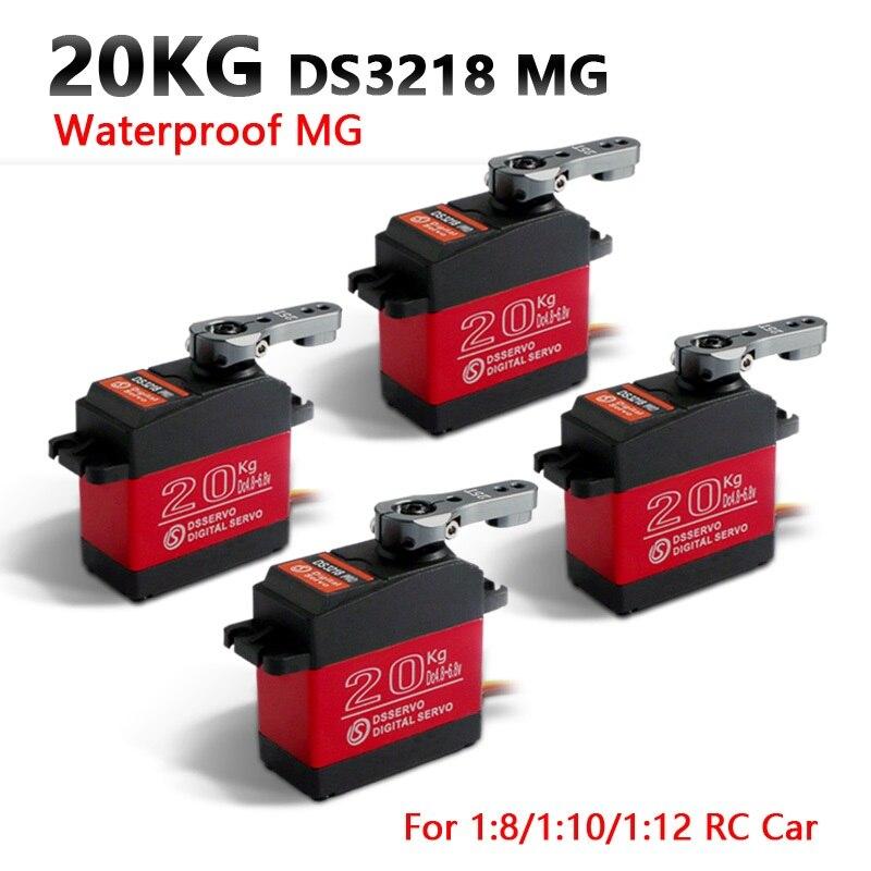 4 pcs servo À Prova D' Água DS3218 Atualizar e PRO alta velocidade metal gear servo digital servo baja 20 KG/. 09 S para 1/8 Carros RC 1/10 Escala