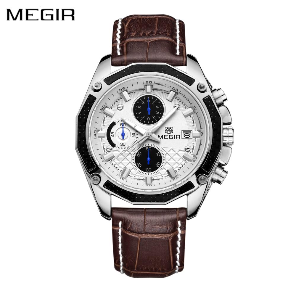 Autentyczne męskie zegarki kwarcowe MEGIR zegarki z prawdziwej - Męskie zegarki - Zdjęcie 2