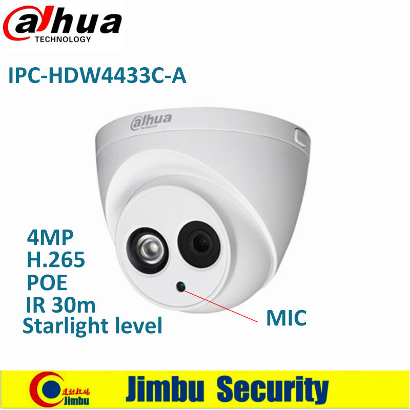 Dahua IP Camera IPC-HDW4433C-A Starlight level 4MP PoE Built in Micro IR30m IP67 Network CCTV Camera Replace IPC-HDW4431C-A dahua 4mp ip camera ipc hdw4433c a replace ipc hdw4431c a poe ir30m h 265 built in mic cctv dome camera multiple language