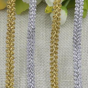 105 meters High Qulality DIY Clothes Accessories Cheap Curve Lace Trim Sewing Lace Gold Silver Centipede Braided Ribbon Lace