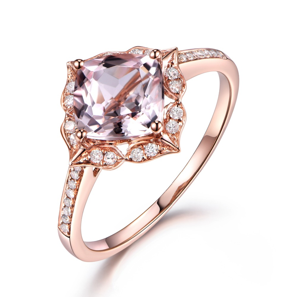 Solid 14k Rose Gold 7mm Cushion Cut Pink Morganite Flower Floral Halo Diamond  Ring Antique Engagement Ring Vintage Wedding Band