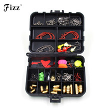 128 Pcs /Set 20 Types Lure Fishing Accessories Tackle Box with Fishing Hooks Connector Spring Ring Line Holder Lure Keeper Beads