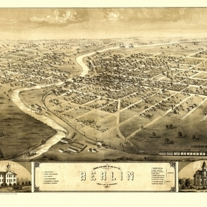 Vintage Map of Berlin Wisconsin 1867 Green Lake County Poster Print (18 x 24)
