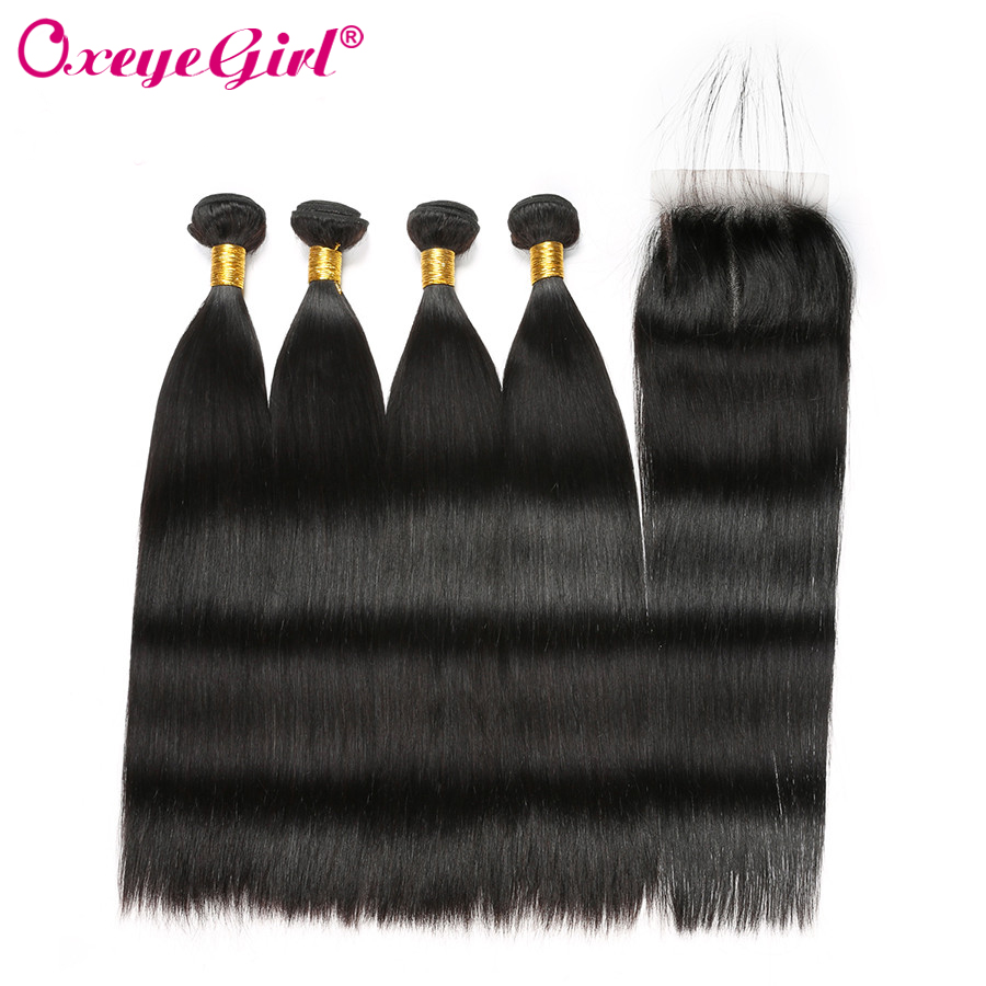 Peruvian Hair Bundles With Closure Human Hair 4 Bundles With Closure Straight Hair Bundles With Closure