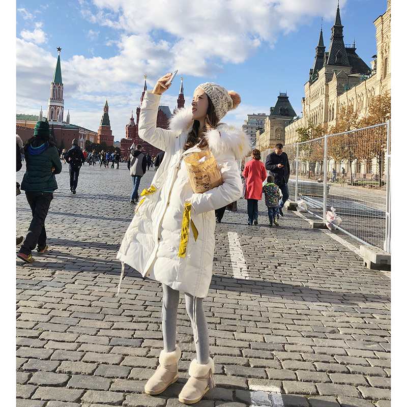 Mishow 2018 women winter overwear mid-long down coat Slim Fit fur collar warm coat women  winter  MX18D8843