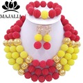 2017 Fashion nigerian wedding african beads jewelry Set red plastic beads necklace bracelet earrings jewelry G-179