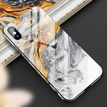 YWEWBJH Luxury Painted Shell Cover Tempered Glass Phone Case  For iPhone X XS 6 6s 7 7plus 8 8plus XR Max Cases Back