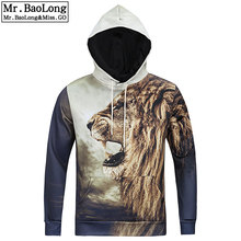 2016 neueste Männer Sweatshirt Herbst/Winter Fashion Hoodies 3D Tier Lion Print Sweatshirt Rap Hip Hop Mit Kapuze Pullover # L6001