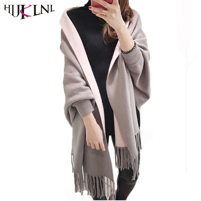 HIJKLNL 2017 Women Autumn Winter Long Sleeeve Sweater Cardigan Fashion Batwing Sleeve Tassel Cape Poncho Shawl