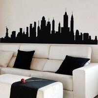 Poomoo جدار الشارات نيويورك أفق المدينة خيال جدار ملصقا nyc الفينيل الأسرة جدارية ديكور