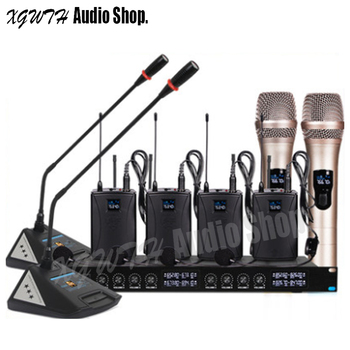 2 Table Gooseneck Conference 4 Bodypack Headset 2 Handheld Microphone Audio Radio Wireless Microphone System Profession
