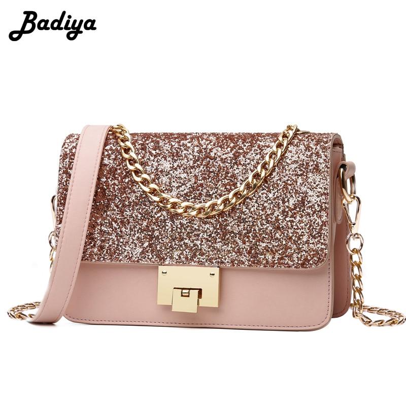 Luxury Women Sequined Messenger Bag Leather Female Small Flap Bag Chain Strap Female Shoulder Bag Bolsa Feminina