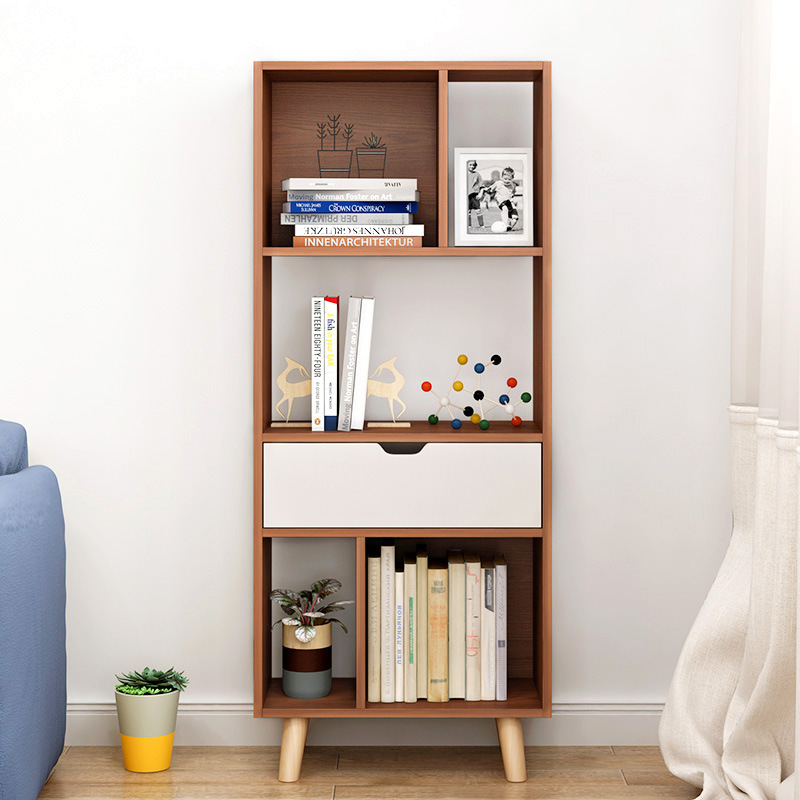 Living Room With Bookshelf: LK1679 Nordic Bookcase Floor Bookshelf Modern Minimalist